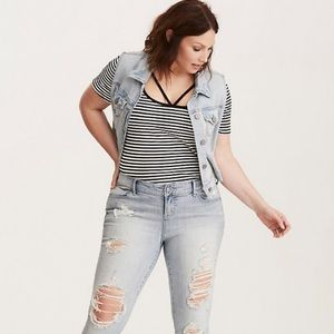 Torrid Striped Strappy Tee Size 00